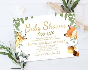 Forest baby shower etsy woodland baby shower invitation rustic boho forest animals girl boy baby shower invitation gender neutral baby shower invitation filmwisefo