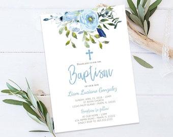 Baptism Invitation Boy, Our Blessing Boy Baptism Greenery Invitation, Blue Floral Cross Baptism Christening Invitation Printable