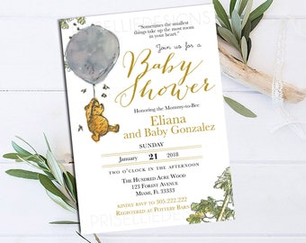 Winnie the Pooh Baby Shower Invitation, Classic Winnie the Pooh Baby Shower Invitation, Winnie the Pooh Gender Neutral Baby Shower Printable