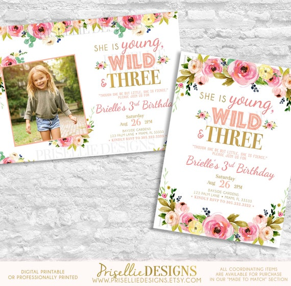 Young Wild And Three Birthday Invitation Third
