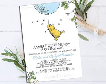 Winnie the Pooh Baby Shower Invitation, Classic Winnie the Pooh Baby Shower Invitation, Winnie the Pooh Blue Boy Baby Shower Printable