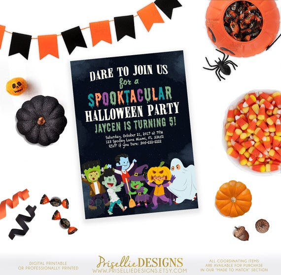 Kids Halloween Party Invitation Birthday
