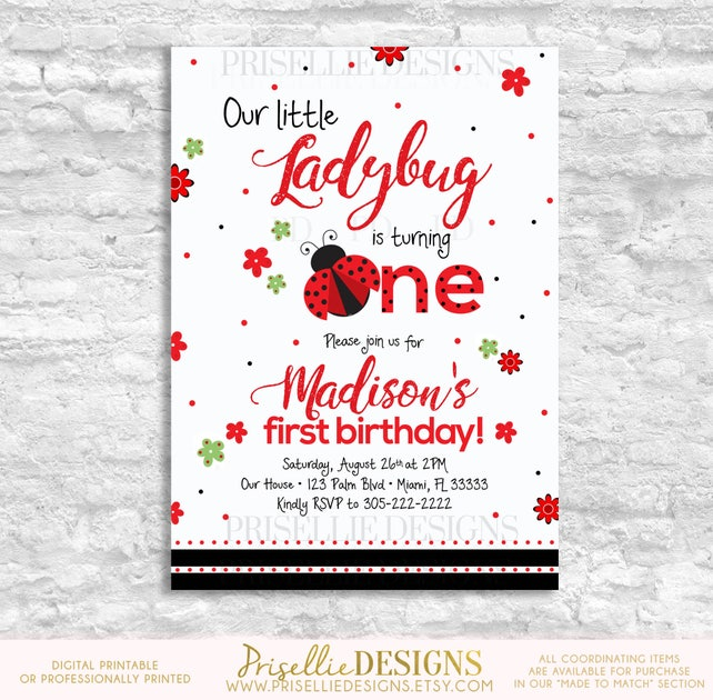 Ladybug Birthday Invitation First Second 1st 2nd