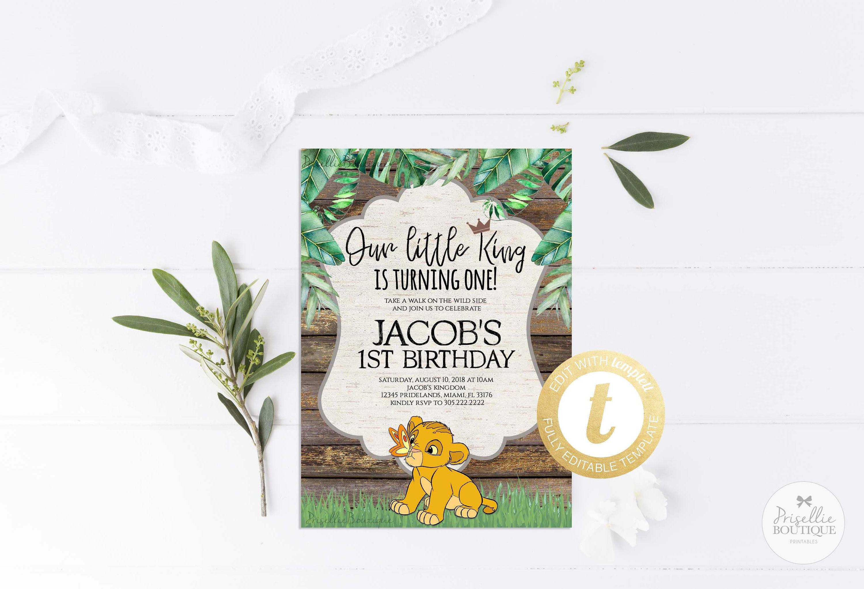 Simba Birthday Invitation Lion King Birthday Invitation Baby   Etsy