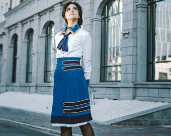 BIOSHOCK INFINITE Elizabeth pintucked skirt game cosplay costume+bow handmade