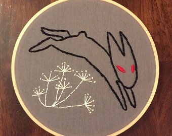 Black Rabbit of Inle Embroidery Hoop Wall Hanging
