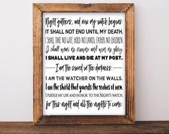 Game of Thrones Quote Night's Watch Oath Sword In the Darkness Watcher Wall Art Gift for Him Husband Printable Instant Download Father's Day