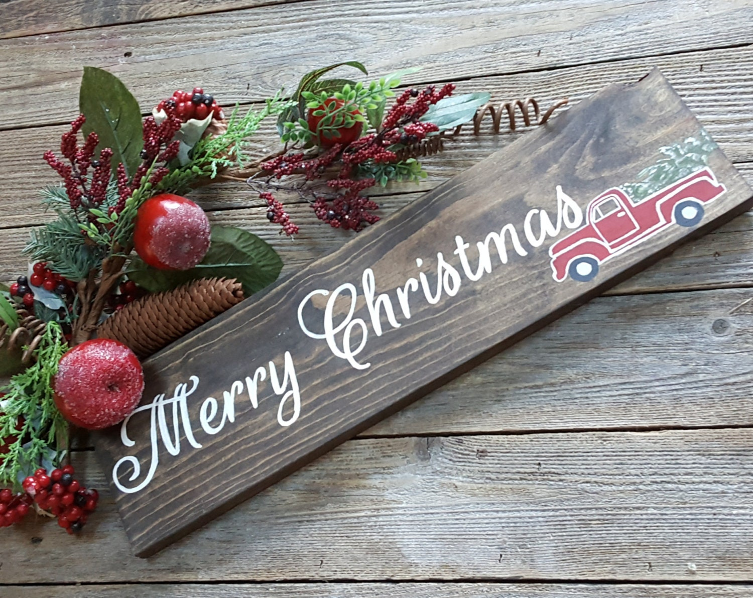 Merry Christmas with Vintage Truck Sign Wood Sign Christmas | Etsy