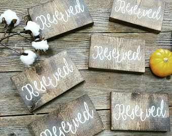 Reserved Block, Reserved Seating Sign, Wedding Ceremony Sign, Wedding Table Decor, Wooden Block Sign, Wooden Reserved Sign, Cottage Chic