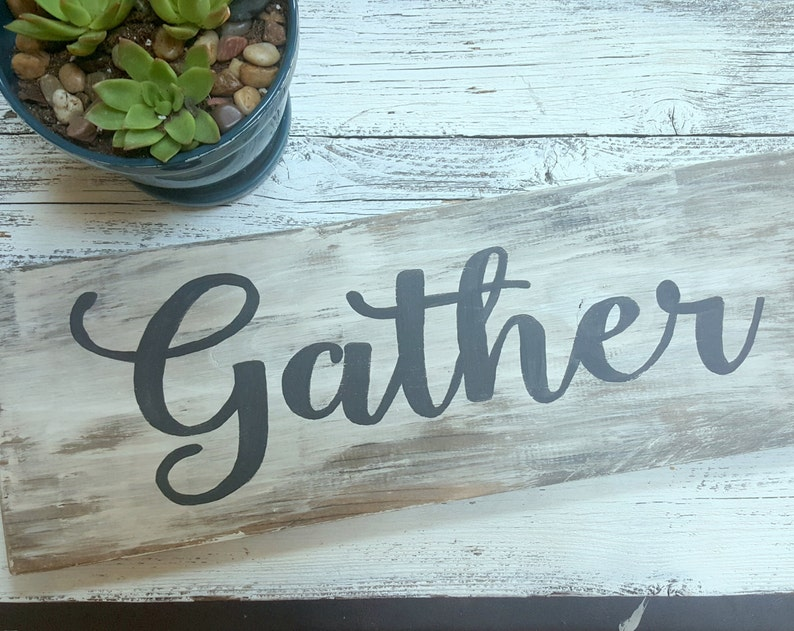 Living Room Gather Sign LG Wooden Blessed Unwind Coffee Home Love Sign Distressed Sign Kitchen Vintage Farmhouse Rustic Dining Room