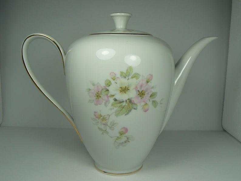 Vintage Tirschenreuth Porcelain Apple Blossom Coffee Pot Heidelberg Germany  8 Cups