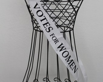 Great for Parties. 4 Suffrage Sashes and 4 VOTES FOR WOMEN Signs Party Pack