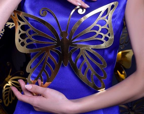 Gold butterflies - paper butterflies - paper butterflies art - paper butterflies wall - backdrop