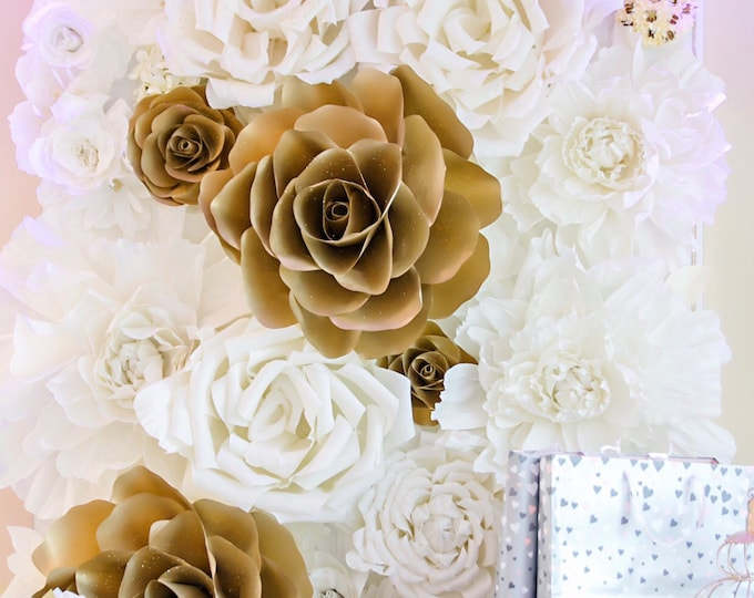 Featured listing image: 4x8 Paper Flower Backdrop / Giant Paper Flowers Wall / Paper Flower Wall /Large paper flowers / Wedding Wall / Crepe paper flowers