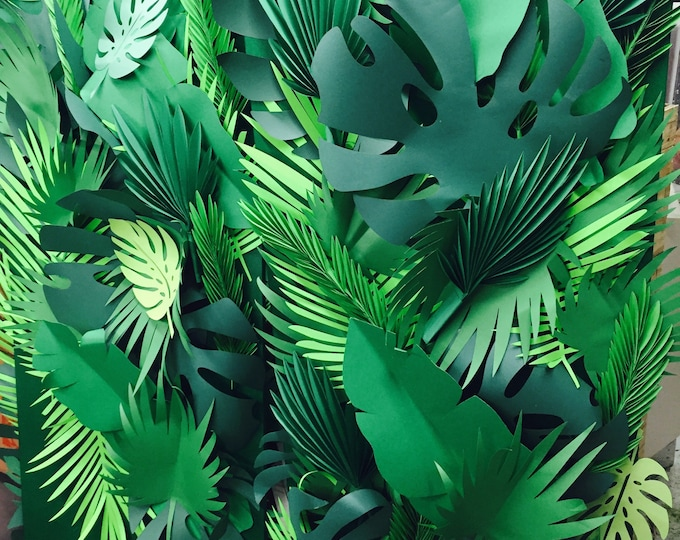 Featured listing image: Mixed styles, sizes and shapes Paper leaves, green leaves, leaves cut outs, palm leaves, palm leaf, tropical leaves