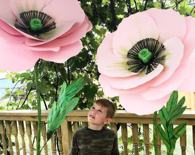 Featured listing image: Poppy Self standing flower, large paper flower, big paper flower with stem, free standing paper flower