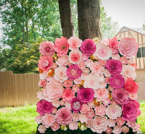 Paper Flower Backdrop / Giant Paper Flowers Wall / Paper Flower Wall / Wedding Wall / pink paper flowers