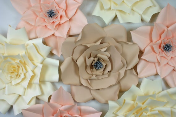 Large paper flowers, big paper flowers, paper flowers wall, neutral paper flowers, PAPER FLOWERS BACKDROP