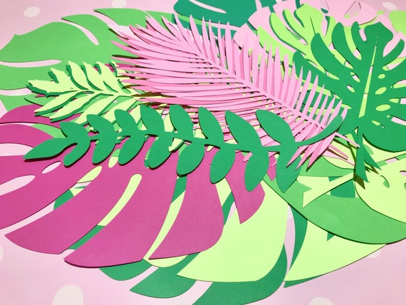 Paper leaves, green leaves, leaves cut outs, Pack of 20 assorted leaves, palm leaves, palm leaf, tropical leaves - shaded