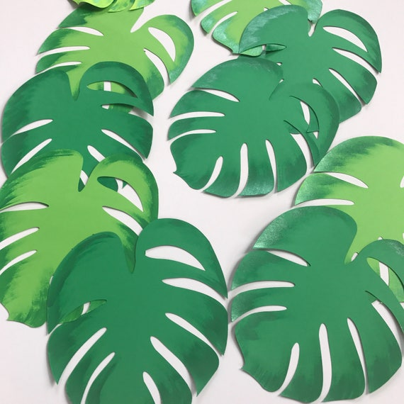 Paper leaves, green leaves, leaves cut outs, Pack of 5 leaves, palm leaves, palm leaf, tropical leaves - shaded