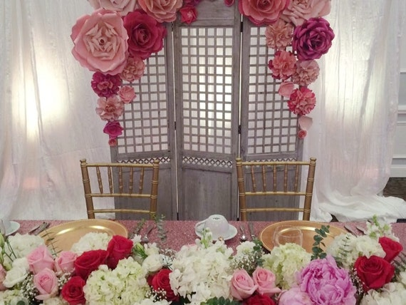 Paper Flower Backdrop / Giant Paper Flowers Wall / Paper Flower Wall / Wedding Wall / Wedding Arch