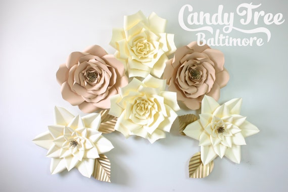 Large paper flowers, big paper flowers, paper flowers wall, neutral paper flowers