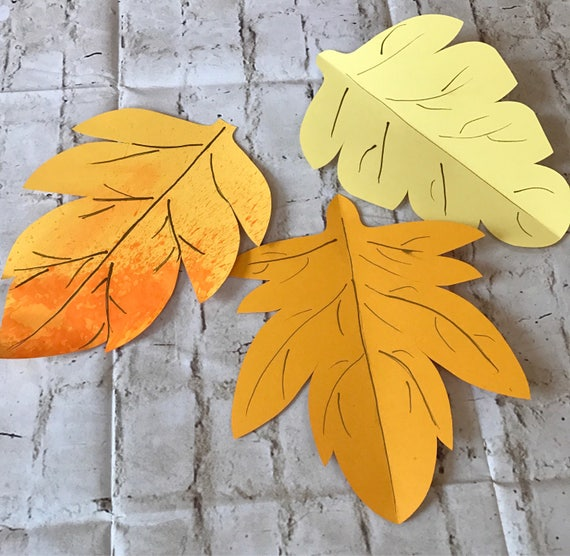 Paper autumn leaves, green leaves, leaves cut outs, Pack of 5 leaves, maple leaves