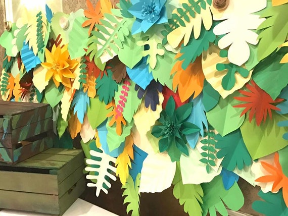 RENT ONLY safari backdrop / paper leaves backdrop / Tropical leaves backdrop / Jungle party backdrop /Kids party/Dessert table
