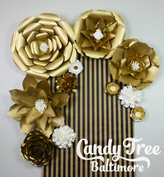 Gold paper flowers backdrop golden paper flower backdrop etsy image 0 mightylinksfo