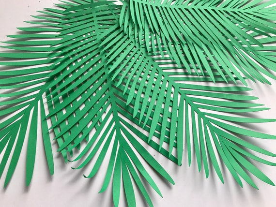 JUMBO extra large Paper leaves, green leaves, leaves cut outs, Pack of 5 leaves, palm leaves, palm leaf, tropical leaves