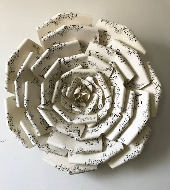 """Sheet Music Paper Flower, Big paper flower with music notes,  Large paper flower, Giant paper flower,  """"MIMI"""""""