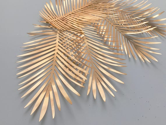Paper ferns, gold leaves, silver leaves, cooper leaves cut outs, Pack of 5 leaves, palm leaves, palm leaf, paper leaves
