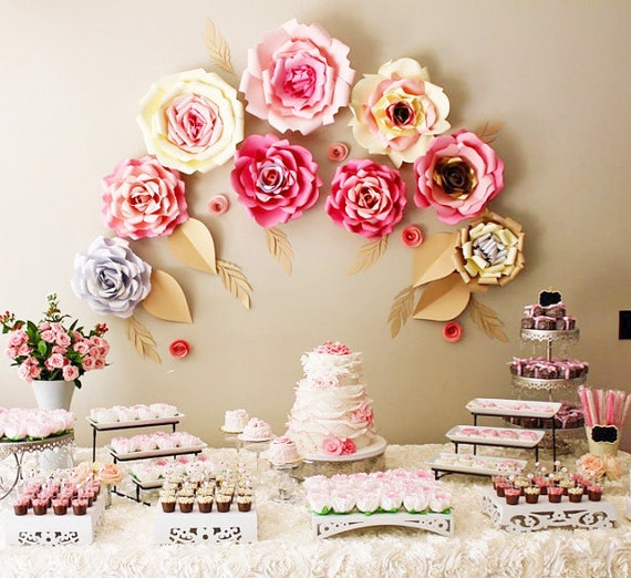 9 Large paper flowers for baby shower decor