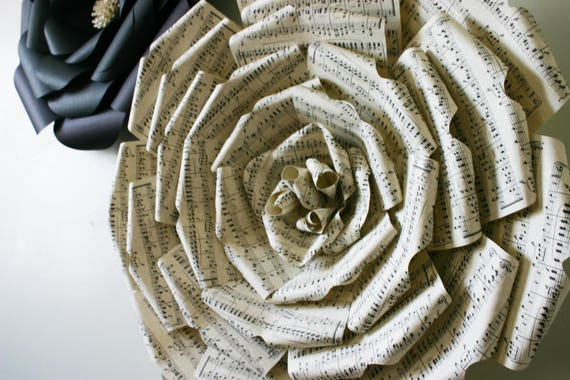 """Sheet Music Paper Flower, Big paper flower with music notes,  Large paper flower, Giant paper flower,  """"MUZA"""""""
