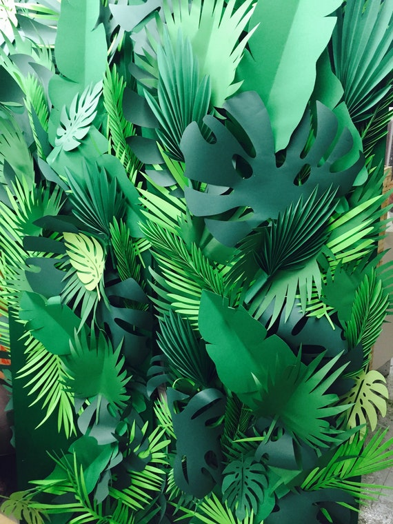 Mixed styles, sizes and shapes Paper leaves, green leaves, leaves cut outs, palm leaves, palm leaf, tropical leaves