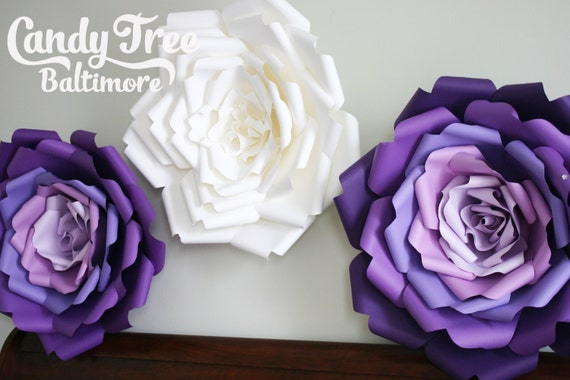 Set of 3 big paper flowers large paper flower giant paper etsy image 0 mightylinksfo