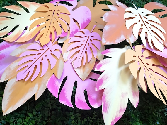Paper leaves, green leaves, leaves cut outs, Pack of 20 leaves, palm leaves, palm leaf, tropical leaves - shaded
