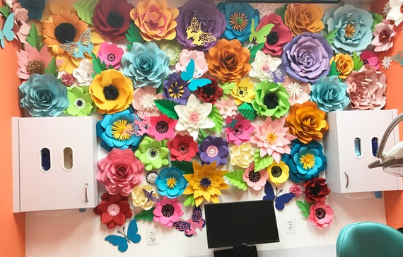 Colorful flower backdrop  /  Giant Paper Flowers Backdrop / Paper Flower Wall / Children's Choice / Paper flowers for kids