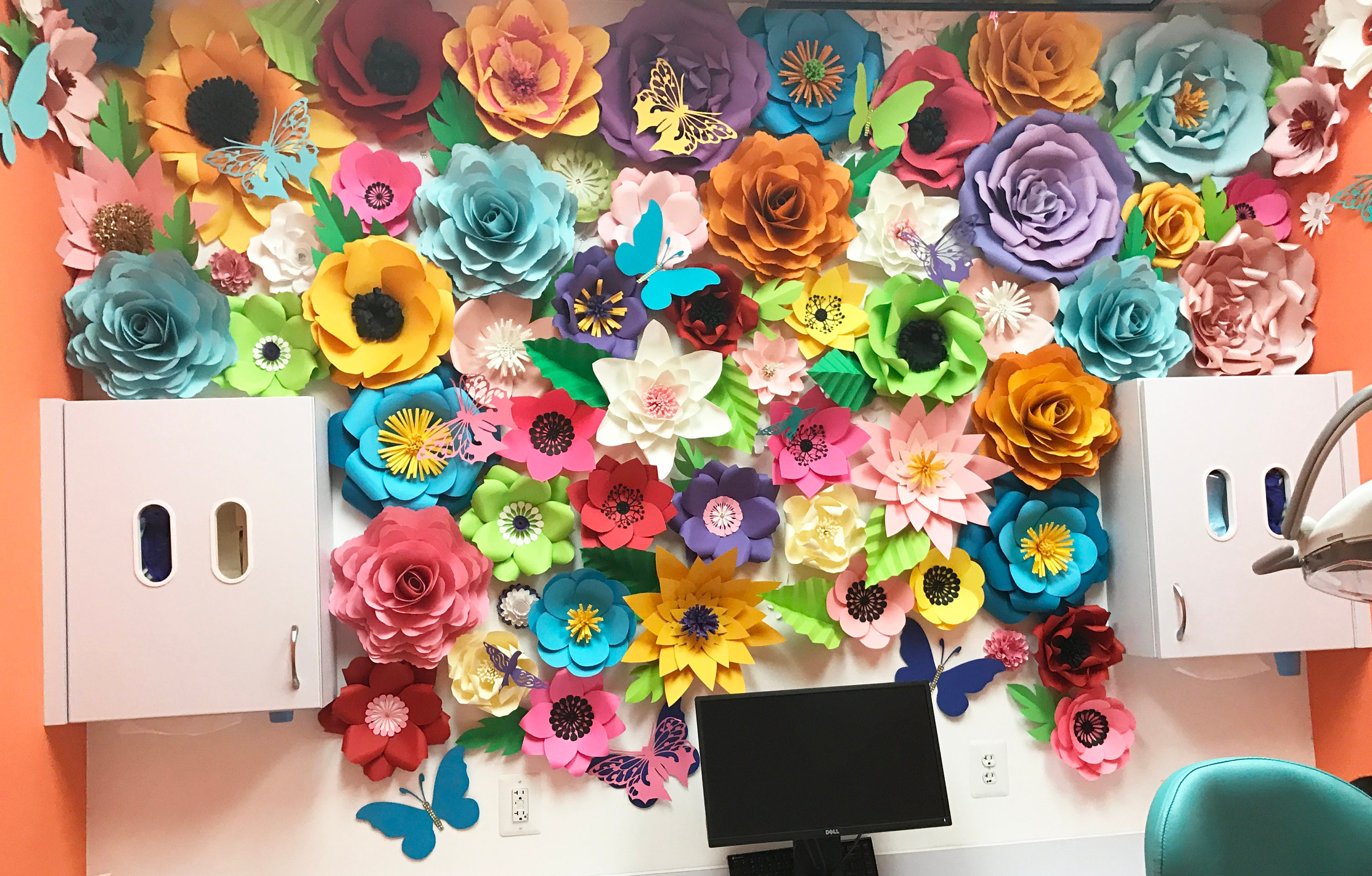 Colorful Flower Backdrop Giant Paper Flowers Backdrop Paper