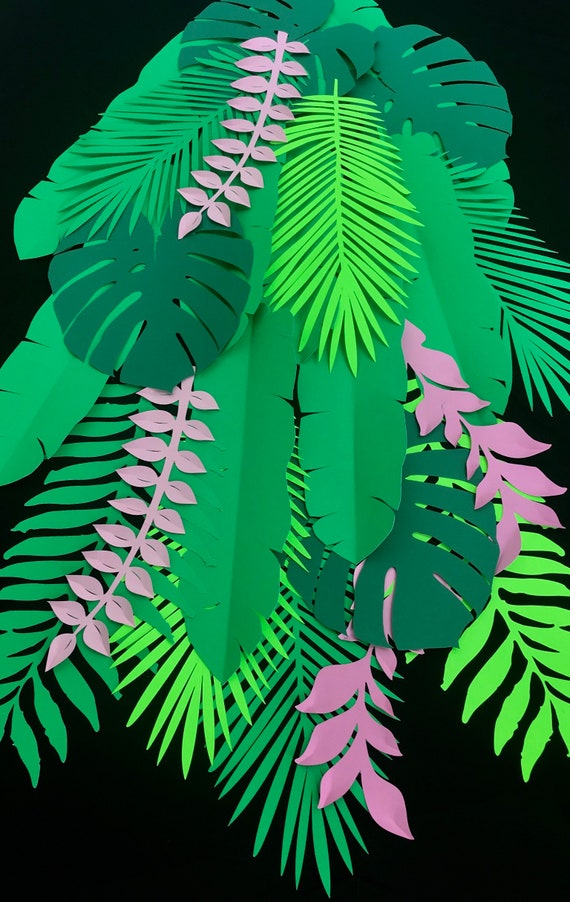 Jumbo size Paper leaves, green leaves, leaves cut outs, pack Pack of 22 assorted jumbo leaves, palm leaves, monstera leaves, sago palm leave