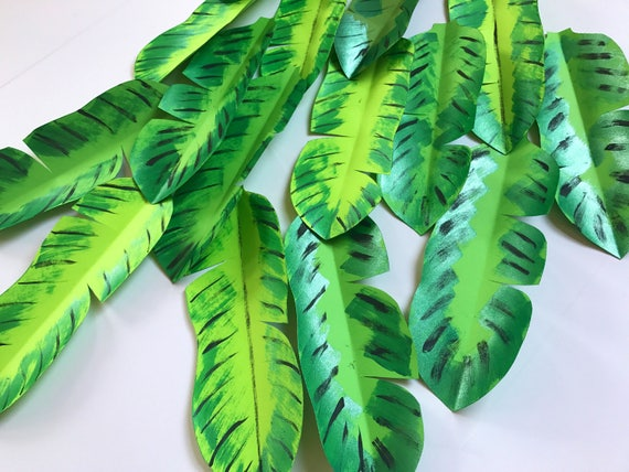Paper leaves, green leaves, leaves cut outs, Pack of 5 leaves, banana leaves, banana leaf, tropical leaves - shaded