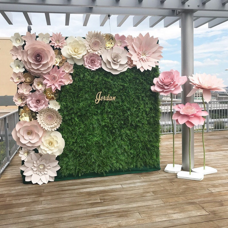 large paper flower backdrop    giant paper flowers    paper