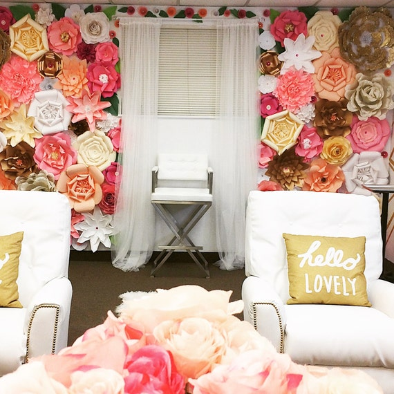 9X8 Paper Flower Backdrop / Giant Paper Flowers Wall / Paper Flower Wall /Large paper flowers / Wedding Wall / Wedding Arch