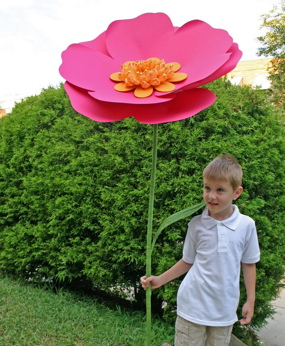 Alice in wonderland Self standing flower, large paper flower, big paper flower with stem, free standing paper flower