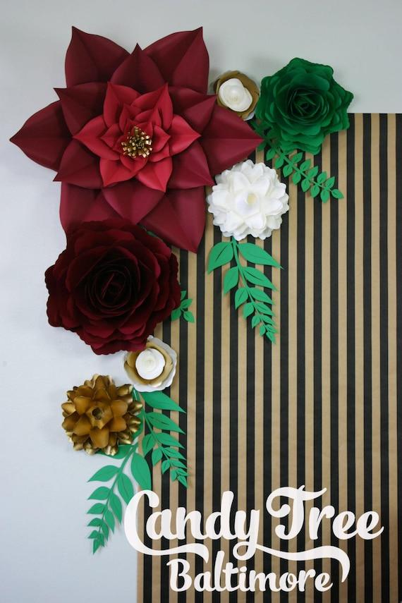 "Gold paper flowers backdrop / Golden Paper Flower Backdrop / Giant Paper Flowers Wall / Paper Flower Wall  ""RETRO-2"""