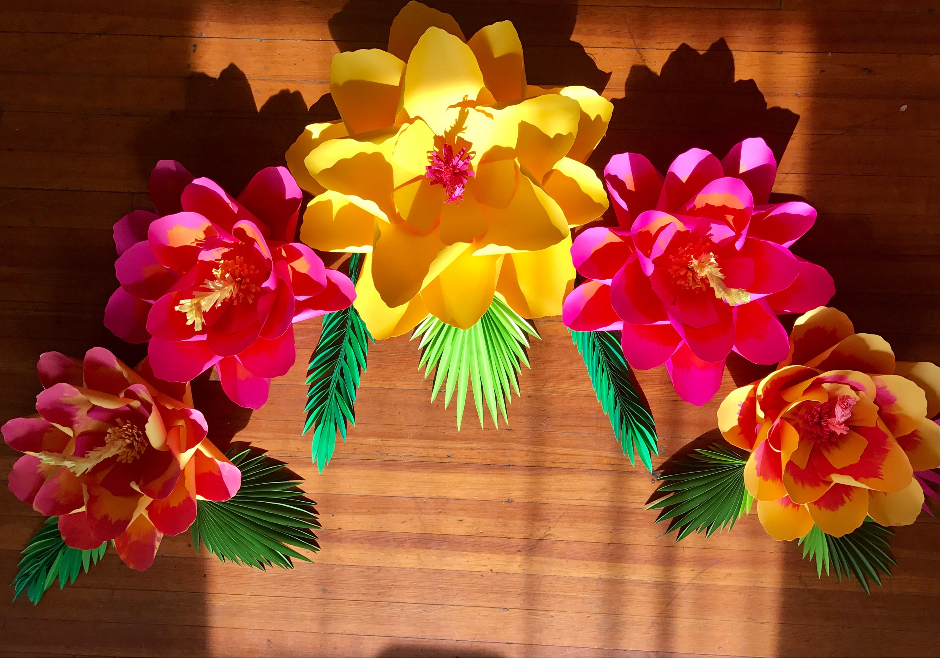 Shaded Large Paper Flower Backdrop Moana Party Hibiscus Paper