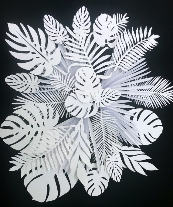 Set of paper leaves, leaves cut outs, Pack of 20 assorted leaves, palm leaves, palm leaf, tropical leaves, custom leaves