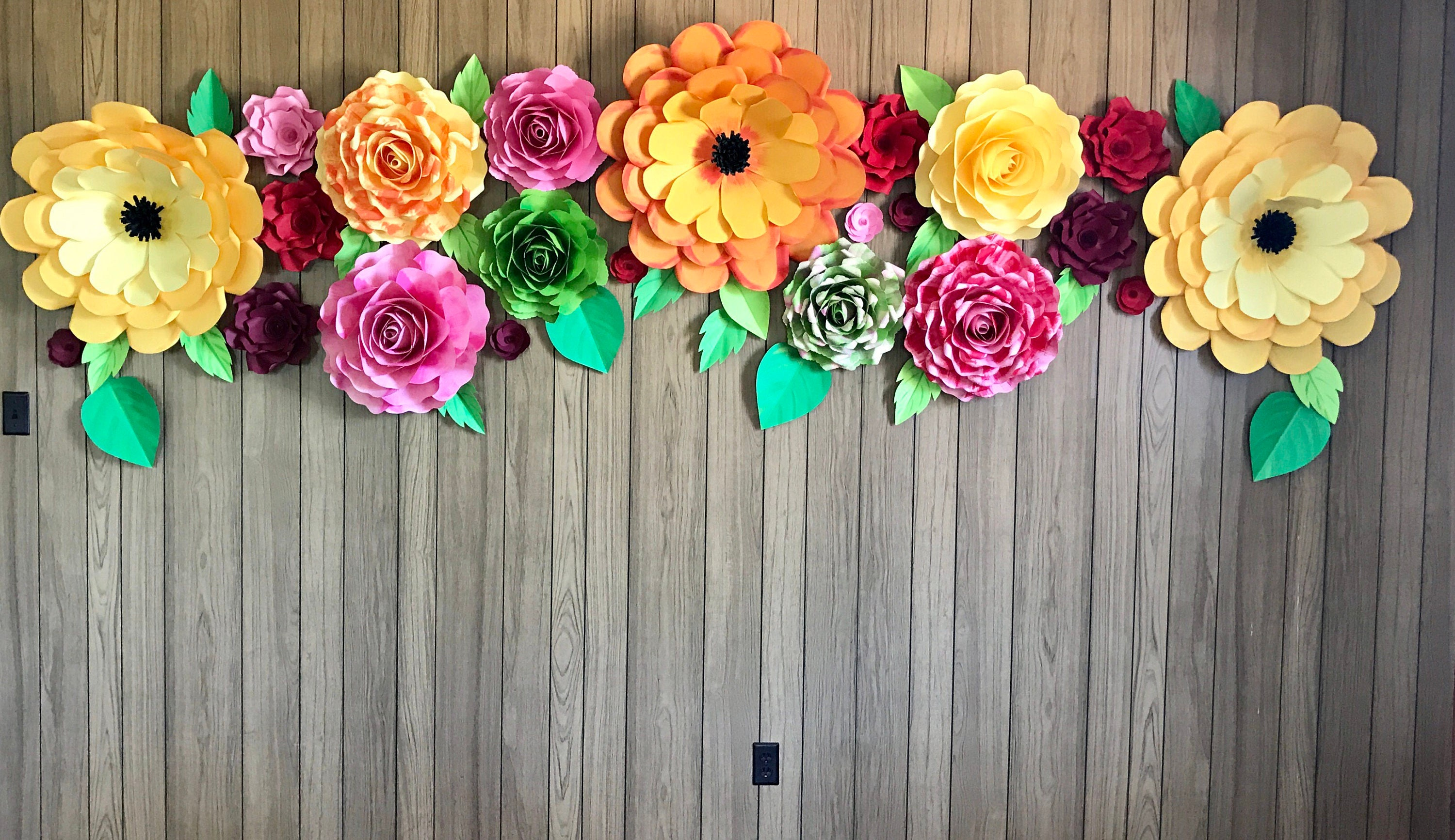 paper flower backdrop    giant paper flowers wall    paper