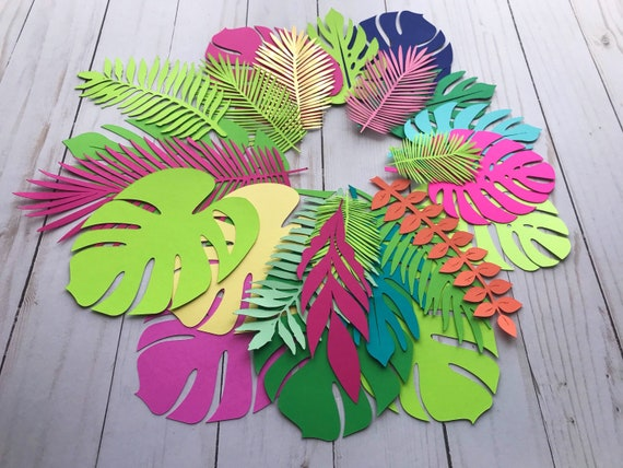 "Paper leaves, green leaves, leaves cut outs, Pack of 20 assorted leaves, palm leaves, palm leaf, tropical leaves ""Alexandra"""