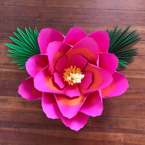 """SHADED Large paper flower, Hibiscus paper flower / Giant paper flower / tropical large paper flower / """"Hibiscus"""" with 2 leaves"""
